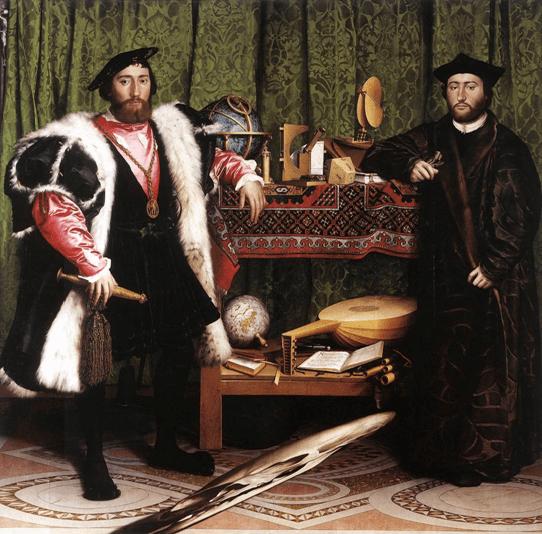 Hans Holbein le Jeune, Les Ambassadeurs, Jean de Dinteville et Georges de Selve, 1533. Huile et tempera sur bois, 207 x 209 cm. National Gallery, Londres.