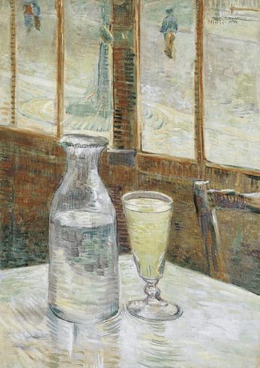 Cafétisch mit Absinth, 1887. Öl auf Leinwand, 46,5 x 33 cm. Van Gogh Museum, Amsterdam.