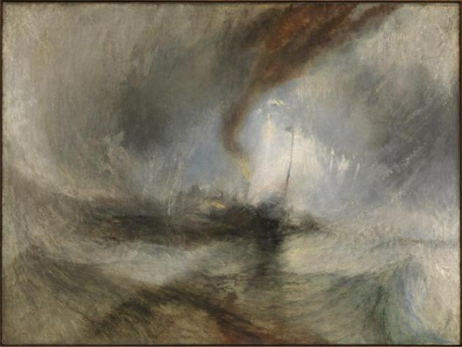J. M. W. Turner, Tempête de neige, exposé en 1842. Huile sur toile,  Tate Collection, Londres.