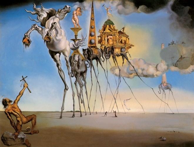 Salvador Dalí, Die Versuchung des Heiligen Antonius, 1946. Öl auf Leinwand, 89,5 x 119,3 cm. Musées Royaux des Beaux Arts de Belgique, Brüssel.