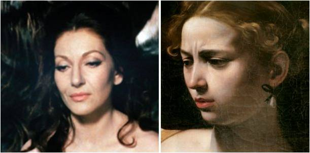 screenshot of Pasolini's film Teorema (1968), left, and Caravaggio's masterpiece Judith and Holofernes (1597 - 1600), right: