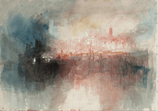 J.M.W. Turner, Fire at the Grand Storehouse of the Tower of London, (L'incendie du Grand Entrepôt de la Tour de Londres), 1841. Aquarelle sur papier, 23,5 x 32,5 cm. Tate Gallery, Londres.