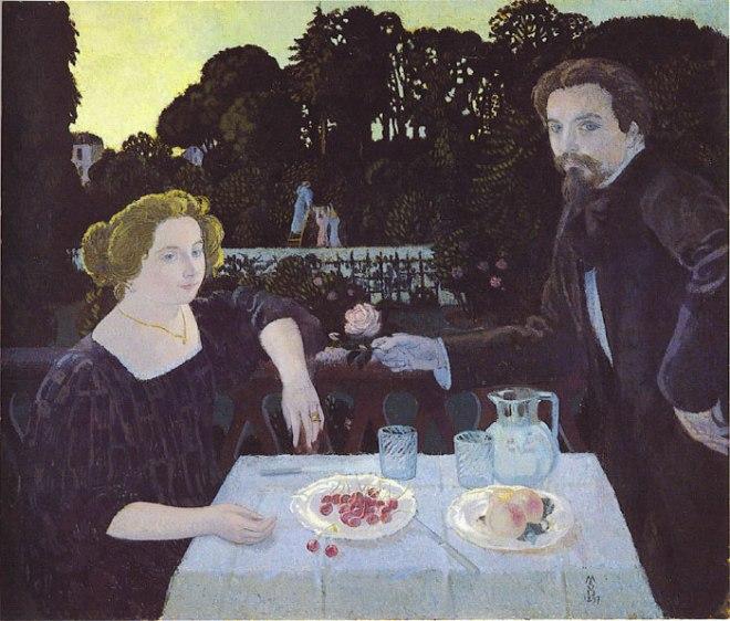 Maurice Denis, Le Dessert dans le jardin, 1897. Huile sur toile, 100 x 120 cm. Musée départemental Maurice Denis, Saint-Germain-en-Laye.