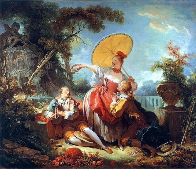 . Jean-Honoré Fragonard, Conversation galante dans un parc ; L'amoureux couronné, vers 1754. Huile sur toile, 62 x 74 cm. Wallace Collection, Londres.