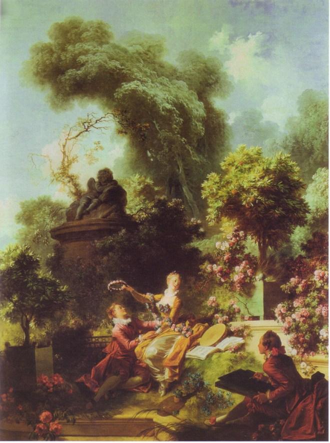 L'Amant couronné. Série Les Progrès de l'amour, 1771-1772. Huile sur toile, 317,8 x 243,2 cm. The Frick Collection, New York.