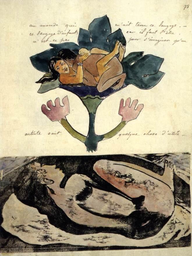 Paul Gauguin, Couple enlacé et texte manuscrit : Folio 42, 1893-1894. Extrait du manuscrit NOANOA / Voyage de/Tahiti. Aquarelle, plume et encre noire, gravure, 31,5 x 23,2 cm. Musée du Louvre, Paris.