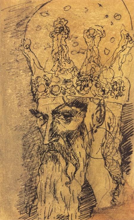 Cabeza de un anciano con corona, 1905. Bolígrafo, tinta india pastel sobre papel, 10 x 17 cm. Museo Pushkin, Moscú.