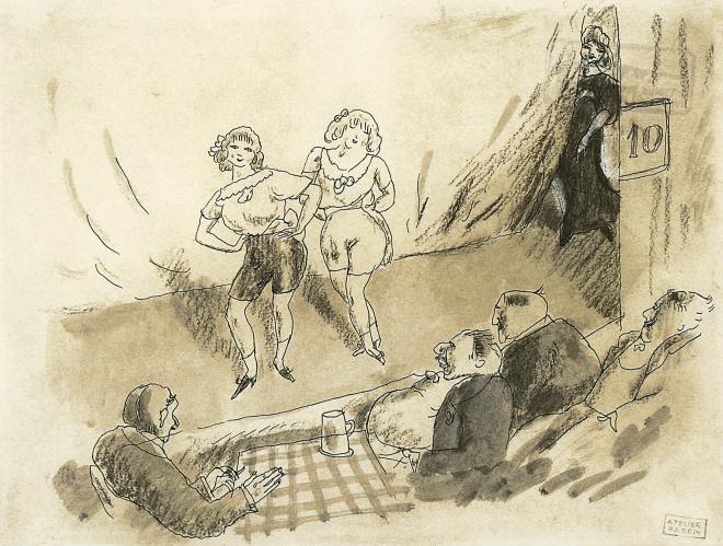 Pascin, Au Music-hall, 1907. Aquarelle sur carton, 21 x 27 cm. Galerie Aittouarès.