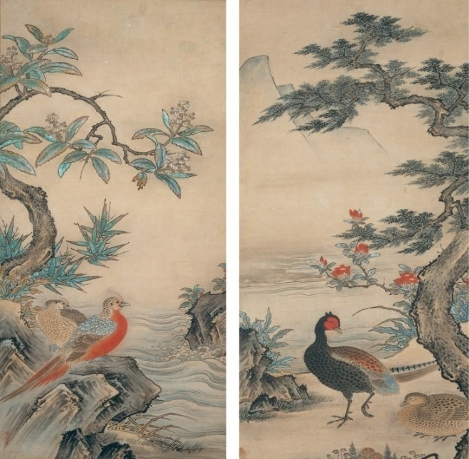 Kano Shōei, Pheasants and Azaleas; Golden Pheasants and a Loquat Tree. Muromachi period, 1560s. Pair of hanging scrolls; ink, color, and gold on paper, each scroll 101 x 49 cm. Metropolitan Museum of Art, New York.