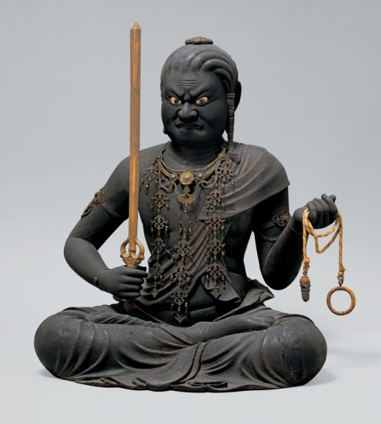 Kaikei, Fudō Myōō (不動明王), Kamakura period, early 13th century. Lacquered, polychromed, and gilded Japanese cypress (hinoki) with kirikane and inlaid crystal eyes, height: 51.5 cm. Metropolitan Museum of Art, New York.