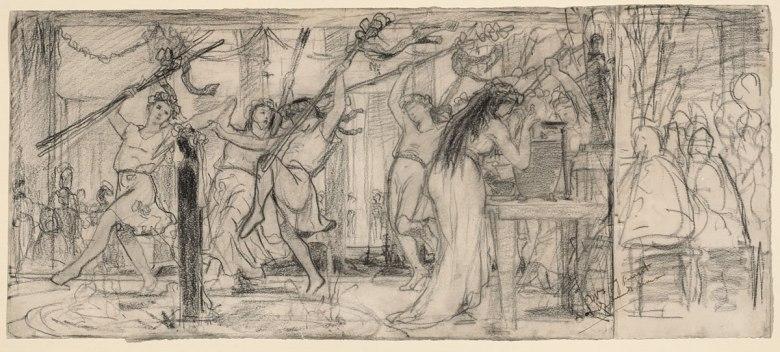 Lawrence Alma-Tadema, Étude de « La fête des vendanges », vers 1869. Pierre noire et mine de plomb sur deux feuilles de papier vélin, 24,3 × 55,7 cm. Collection Lanigan, Saskatoon. Promesse de don au Musée des beaux-arts du Canada. Photo © MBAC