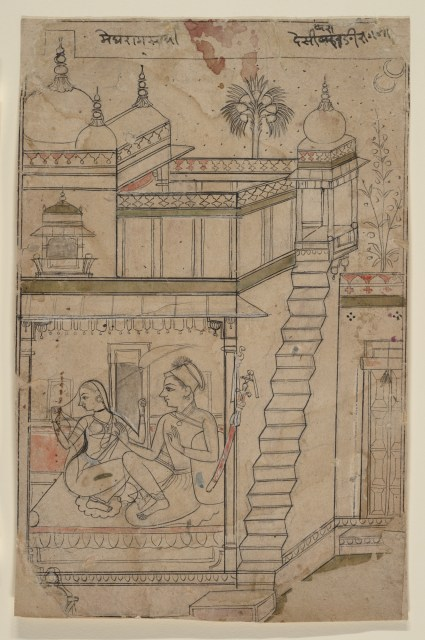 Anonymous, Desvarari Ragini: Folio from a ragamala series (Garland of Musical Modes), early 18th century. Ink and wash on paper, 25.7 x 16.5 cm. The Motropolitan Museum Of Art, New York.