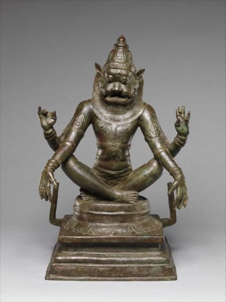Just slaughtered an evil king? It's time for some yoga: Yoga Narasimha, Vishnu's Man-Lion Incarnation, 12th century. Copper alloy, 47.6 x 33 x 24.1 cm. The Metropolitan Museum of Art, New York.