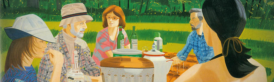 Picnic de verano (Summer Picnic), 1975. Óleo sobre lino. Cortesía de la Marlborough Gallery, Nueva York. © Alex Katz/Licensed by VAGA, New York, NY.