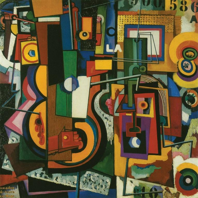Sans Titre, 1917. Huile et collage sur toile et bois, 93,5 x 93,5 cm. Centro de Arte Moderna - Fundação Calouste Gulbenkian, Lisbonne.