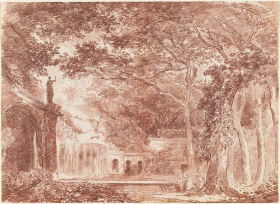 La Fontaine ovale dans les jardins de Tivoli, 1760. Sanguine sur papier, 32.7 x 45.1 cm. National Gallery of Art, Washington.
