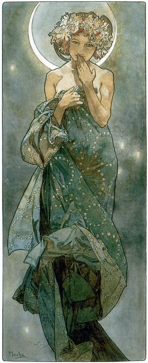 Étude pour « La Lune », 1902. Dessin au crayon, lavis et aquarelle, 56 x 21 cm. Mucha Trust.