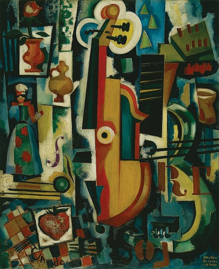 Amadeo de Souza-Cardoso, Keyhole / GUITAR IN LABOUR / Bon ménage / Avant-Garde Strawberry, 1916. Oil and stencil on oil, canvas, mixture and varnish, 70 x 58 cm. Centro de Arte Moderna - Fundação Calouste Gulbenkian, Lisbon.