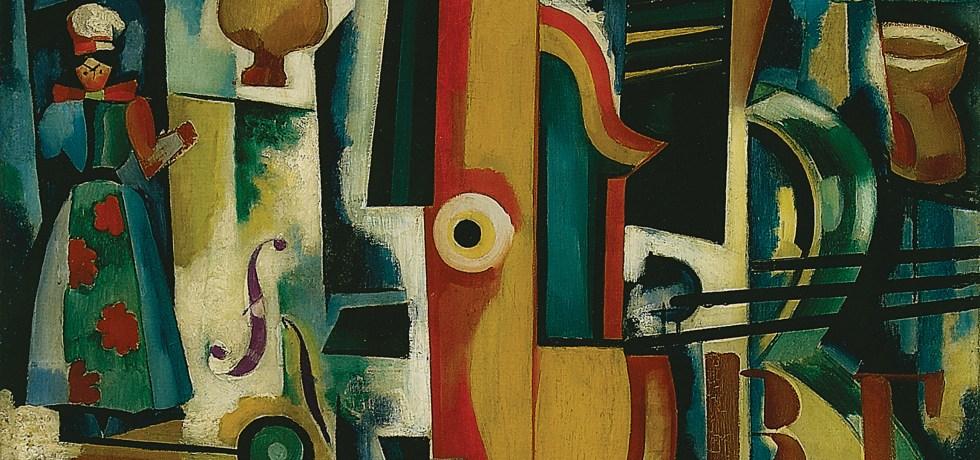 Amadeo de Souza-Cardoso, Keyhole / GUITAR IN LABOUR / Bon ménage / Avant-Garde Strawberry, 1916. Oil and stencil on oil, canvas, mixture and varnish, 70 x 58 cm. Centro de Arte Moderna - Fundação Calouste Gulbenkian, Lisbon.