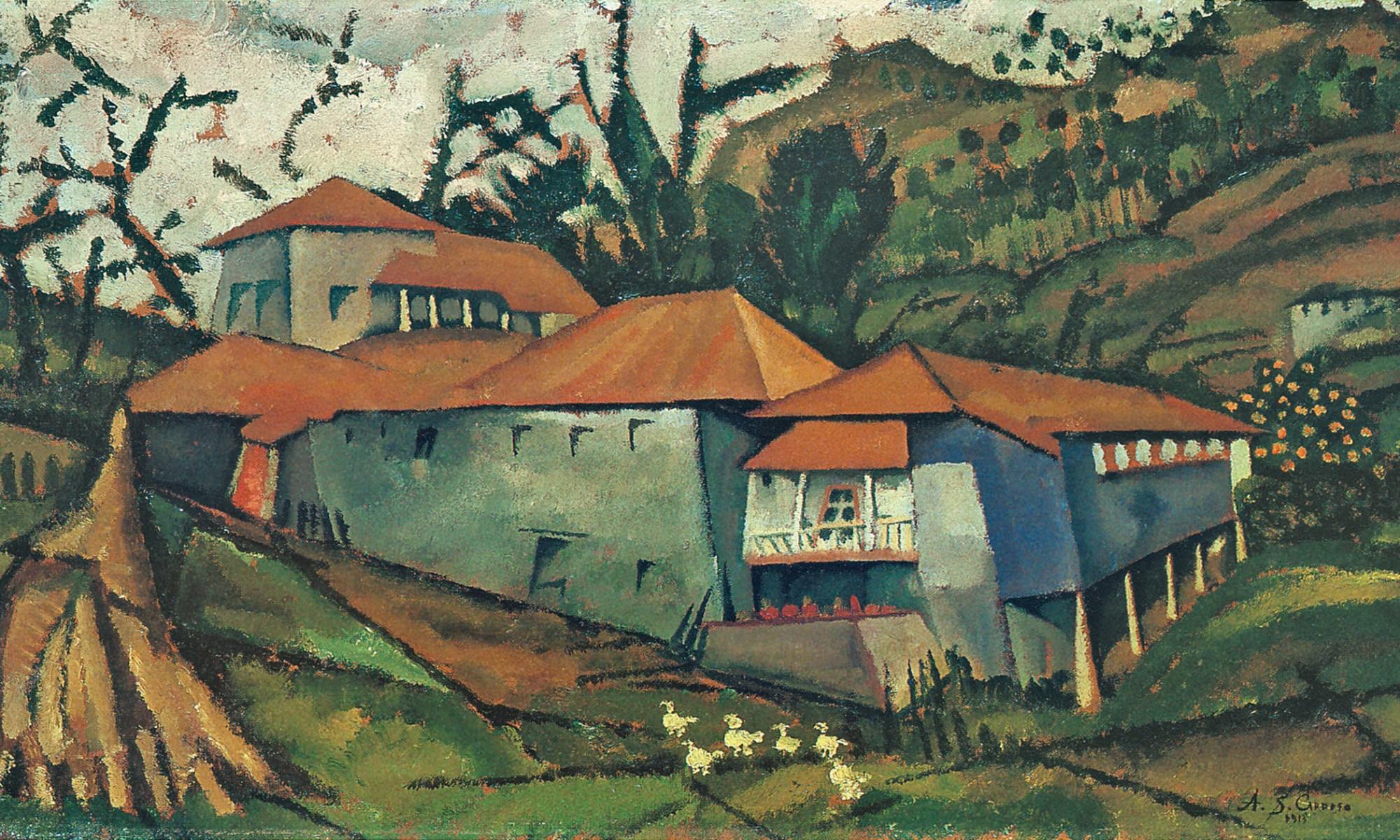Casa do Ribeiro, 1913. Huile sur bois, 29,5 x 51,7 cm. Collection privée, Porto.