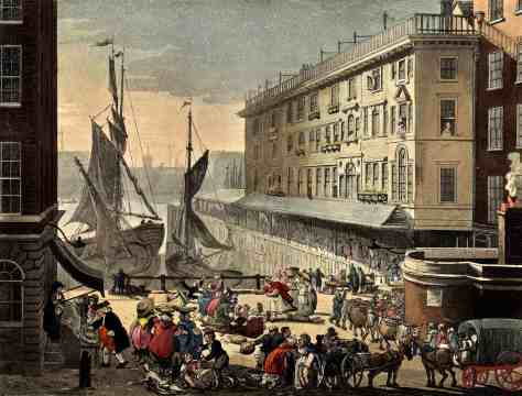 "Rudolph Ackermann and Augustus Charles Pugin, Billingsgate Market, in ""The Microcosm of London"", 1808–1810."