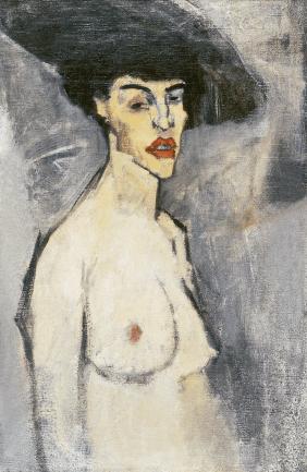 Nudo con cappello, 1907-1908. Olio su tella, 80,6 x 50,1 cm. Hecht Museum, University of Haïfa, Monte Carmelo (Israele).