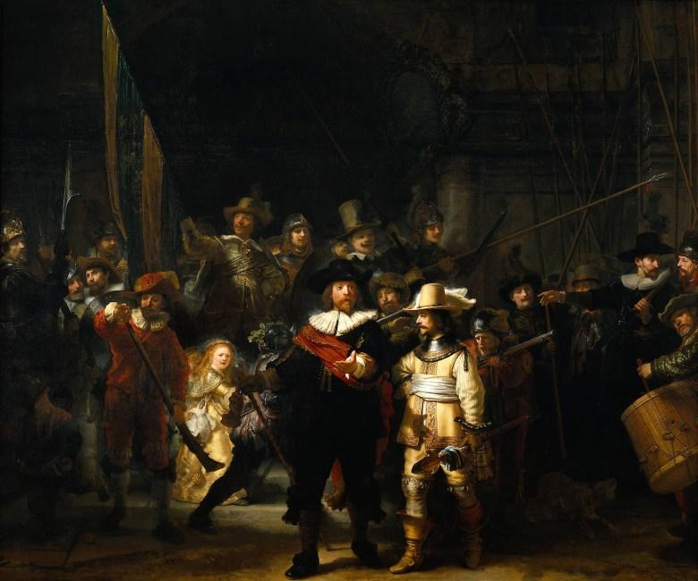 Rembrandt Harmenszoon van Rijn, Die Nachtwache, 1642. Öl auf Leinwand, 379,5 x 453,3 cm. Rijksmuseum, Amsterdam.