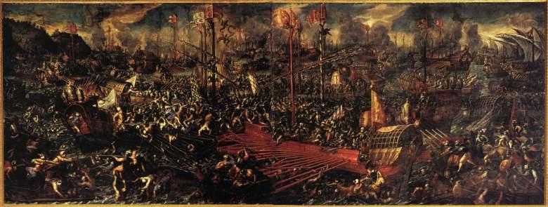 Andrea Vicentino, Die Schlacht von Lepanto, um 1600. Öl auf Leinwand, 114 x 236 cm. Palazzo Ducale, Venedig.