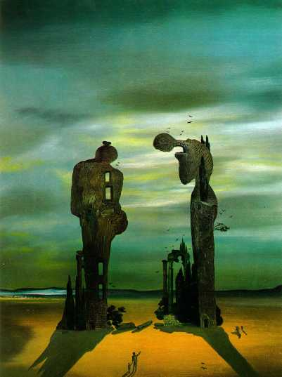 Salvador Dalí, Archäologische Reminiszenz an Millets 'Angelusläuten', 1933-1935. Öl auf Tafel, 31,8 x 39.4 cm. The Dalí Museum, St. Petersburg (Florida).