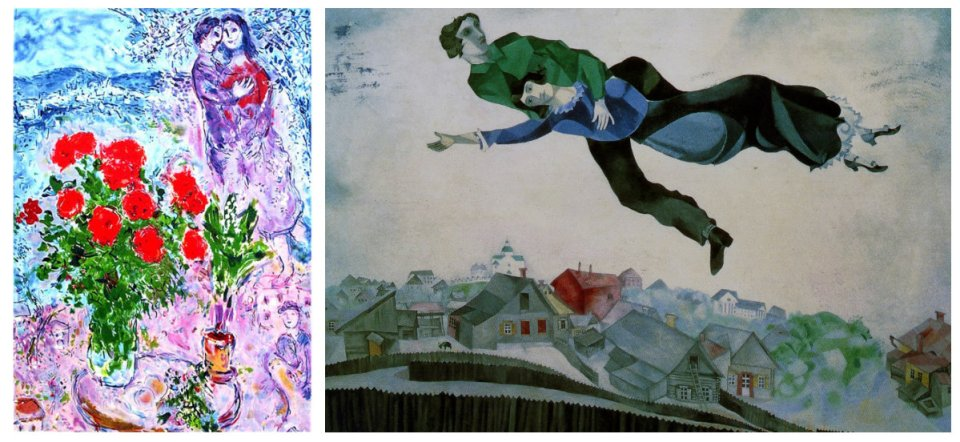 That artistic range though… Left: Red Bouquet with Lovers. Offset lithograph, 72.4 x 49.5 cm. Right: Above the City, 1914-1918. Oil on canvas, Tretyakov Gallery, Moscow