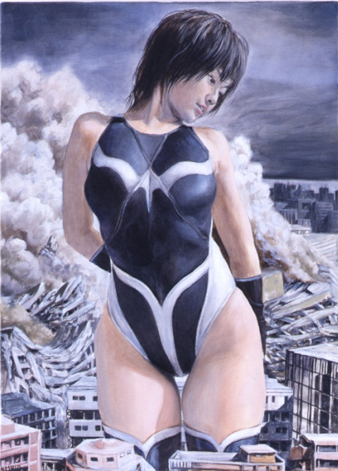 Yasuyuki Nishio, Fight in the course of justice, 2005-2006. Oil on canvas, 13 x 9 1/2 in.
