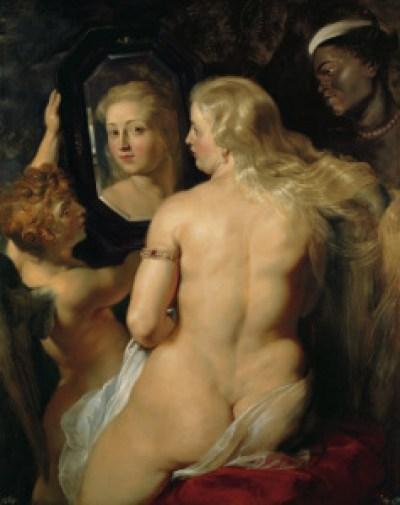 彼得•保罗•鲁本斯,《镜子前的维纳斯》,1614/1615年。平板油画,123*98cm。列支敦士登王室收藏室。