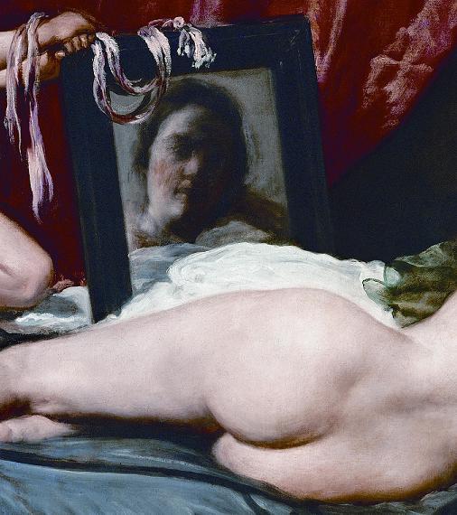 Einfallswinkel ≠ Ausfallswinkel: Diego Velázquez, Venus vor dem Spiegel (Detail), 1647-1651. Öl auf Leinwand, 122,5 x 177 cm. National Gallery, London.