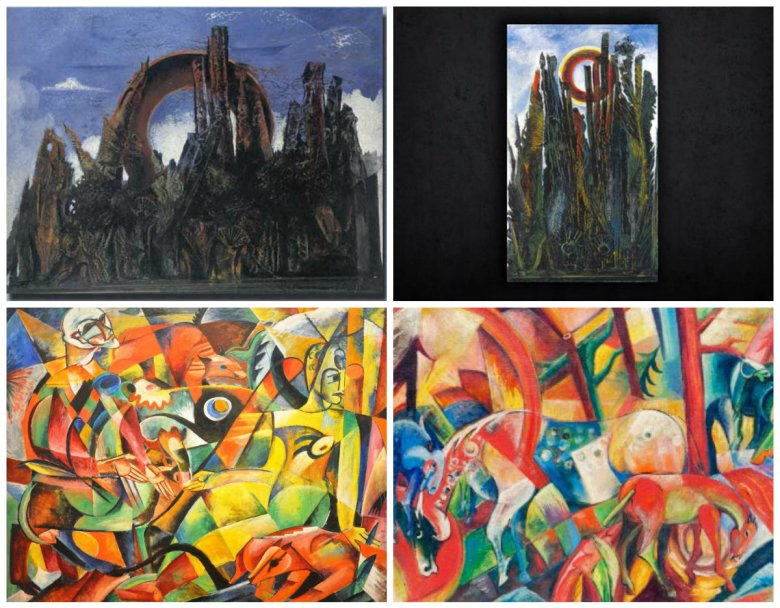 Top: Max Ernst. Der grosse Wald. 1927 (L) Forgery by Wolfgang Beltracchi. Kleine weisse Landschaft. (R) Bottom: Heinrich Campendonk. Harlquin and Columbine. Oil on Canvas. 1913. (L) Forgery by Wolfgang Beltracchi. Rotes Bild mit Pferden.