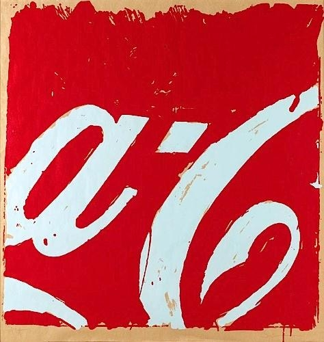 Mario Schifano. Coca Cola, verso 1962. Serigrafia in bianco e rosso su carta d'imbalagio, 101.5 x 101 cm.