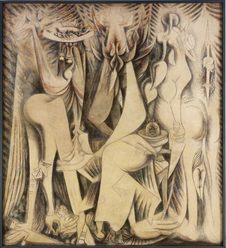 Wifredo Lam. The Eternal Presence. 1944. Oil and pastel over papier maché and chalk ground on bast fiber fabric. 216.5 x 195.9 cm. Nancy Sayles Day Collection of Modern Latin American Art