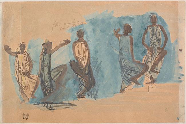 Auguste Rodin, Cinq études de danseuses cambodgiennes, 1906. Mine de plomb, estompe, aquarelle, gouache et rehauts de crayon gras sur papier crème, 34,8 × 26,7 cm. Musée Rodin, Paris.