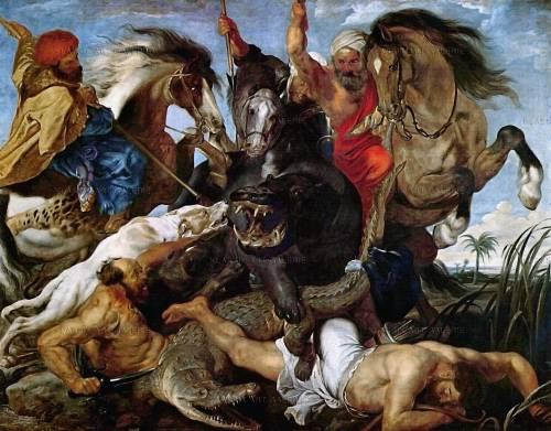 Peter Paul Rubens, Jagd auf Nilpferd und Krokodil, 1615-1616. Öl auf Leinwand, 248 x 321 cm. Alte Pinakothek, Bayerische Staatsgemäldesammlungen, München.