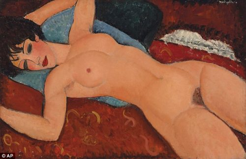 reclining nude with open arms