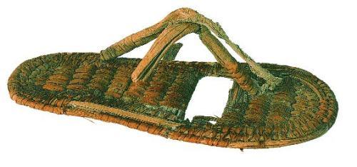 Ägyptische Sandalen aus Pflanzenfasern, Musée Bally, Schönenwerd, Schweiz.