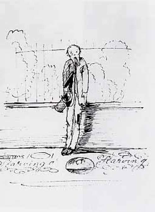 burne-jones-Selbst-Karikatur als Straßenkünstler