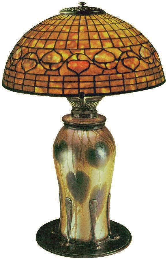 Favrile Glass Lamp with a Domed Geometric Shade Favrile glass, Tiffany, Charles De Kay