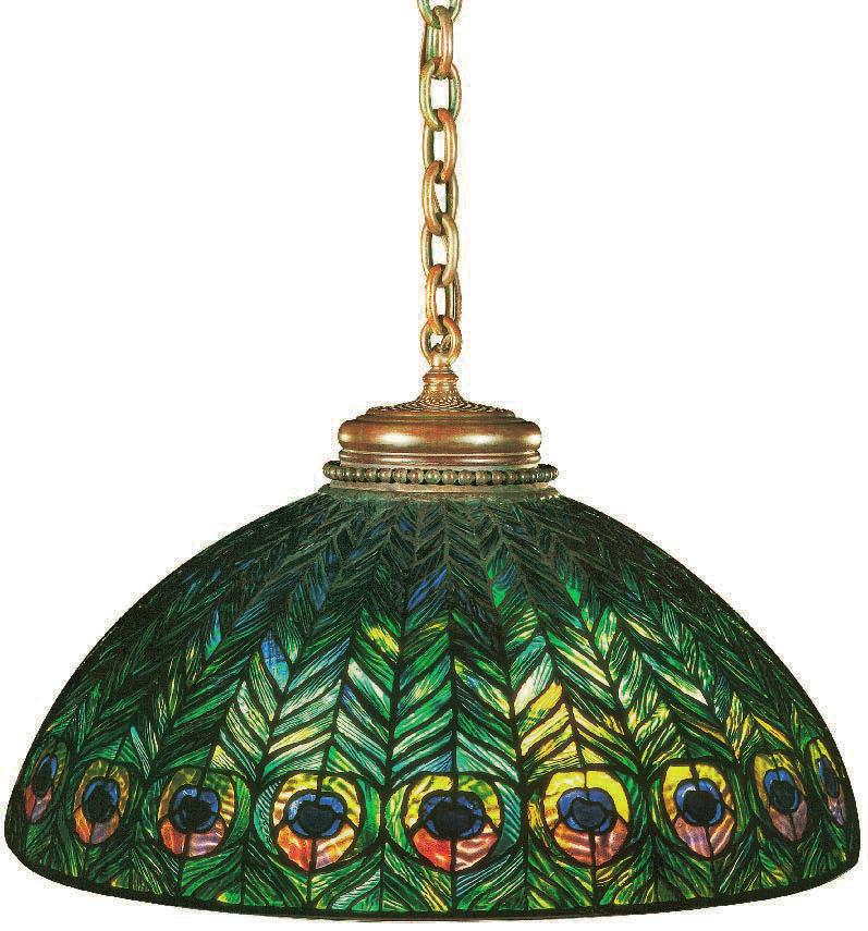 peacock hanging lamp, Tiffany, Charles De Kay