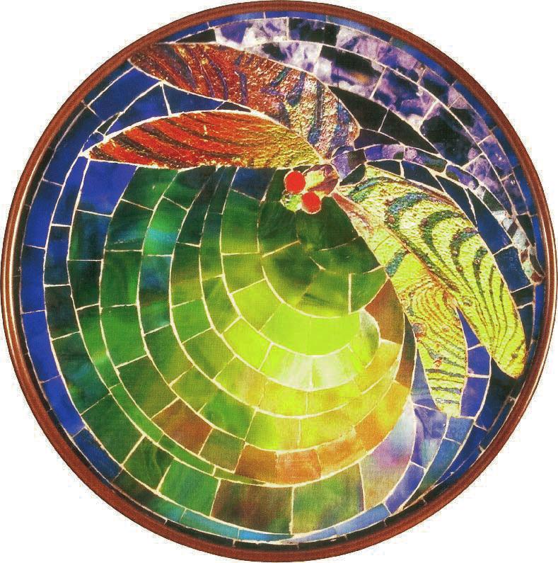 Wandleuchte mit Libellenmosaik, Charles De Kay