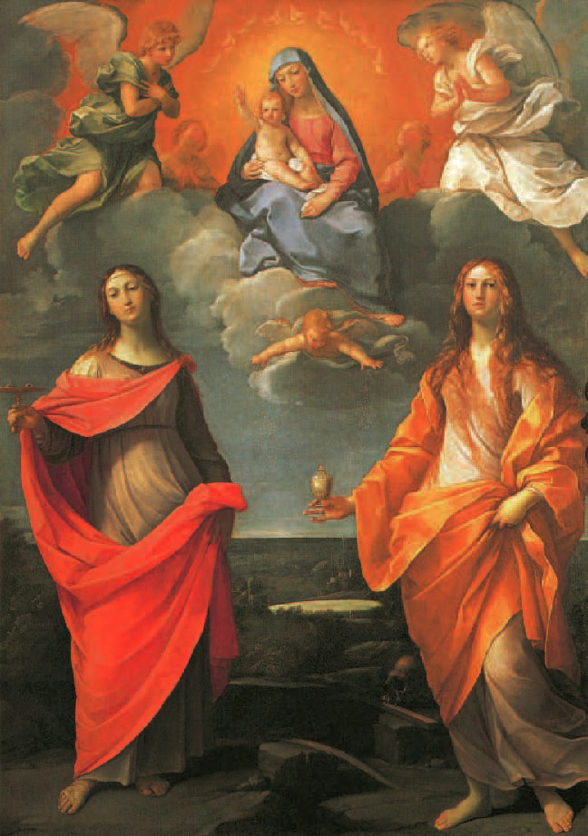 L'Apparition de la Vierge à saint Luc et à sainte, Catherine Annibale Carracci, 1592, Portraits de Vierges, Klaus Carl