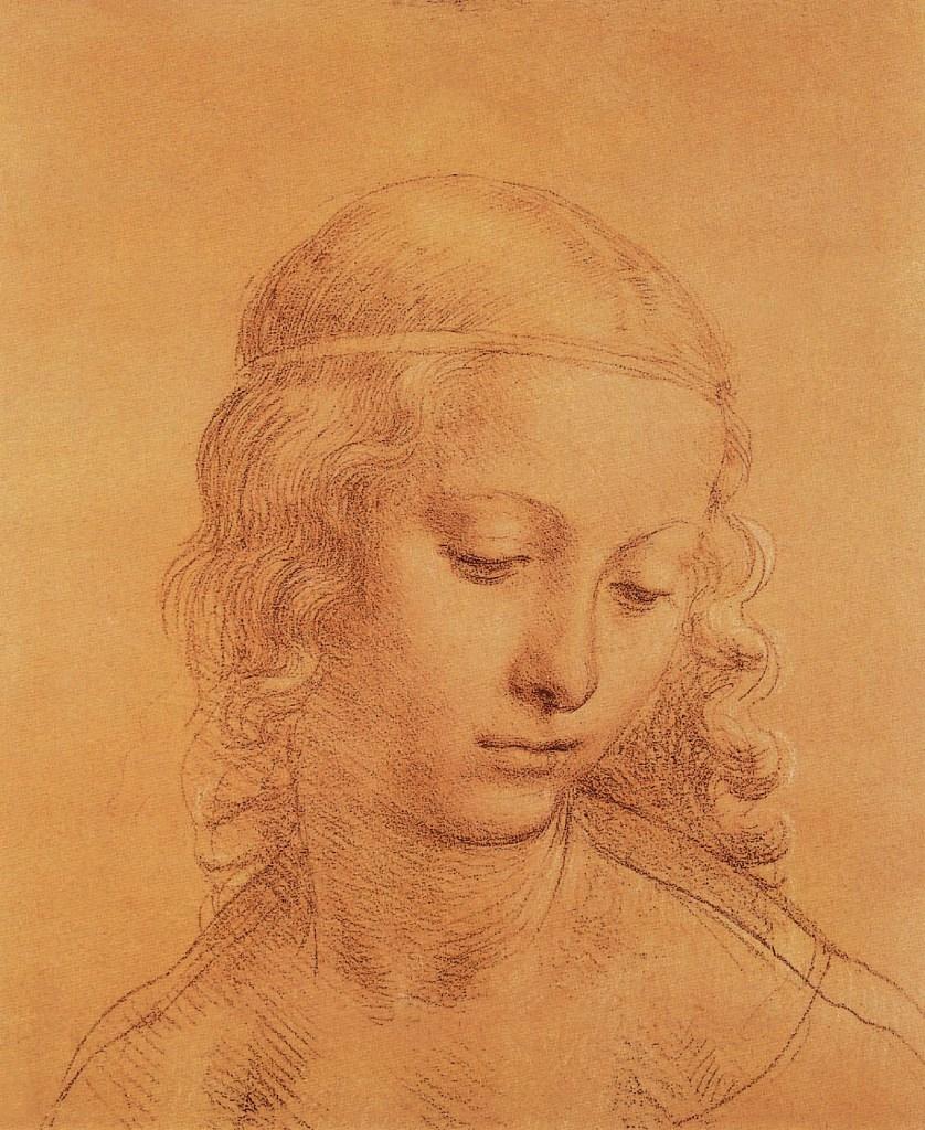 Lombardischer Schüler von Leonardo da Vinci, Mädchenkopf, ca. 1508-1510, Leonardo Da Vinci - Künstler, Maler der Renaissance, Eugène Müntz