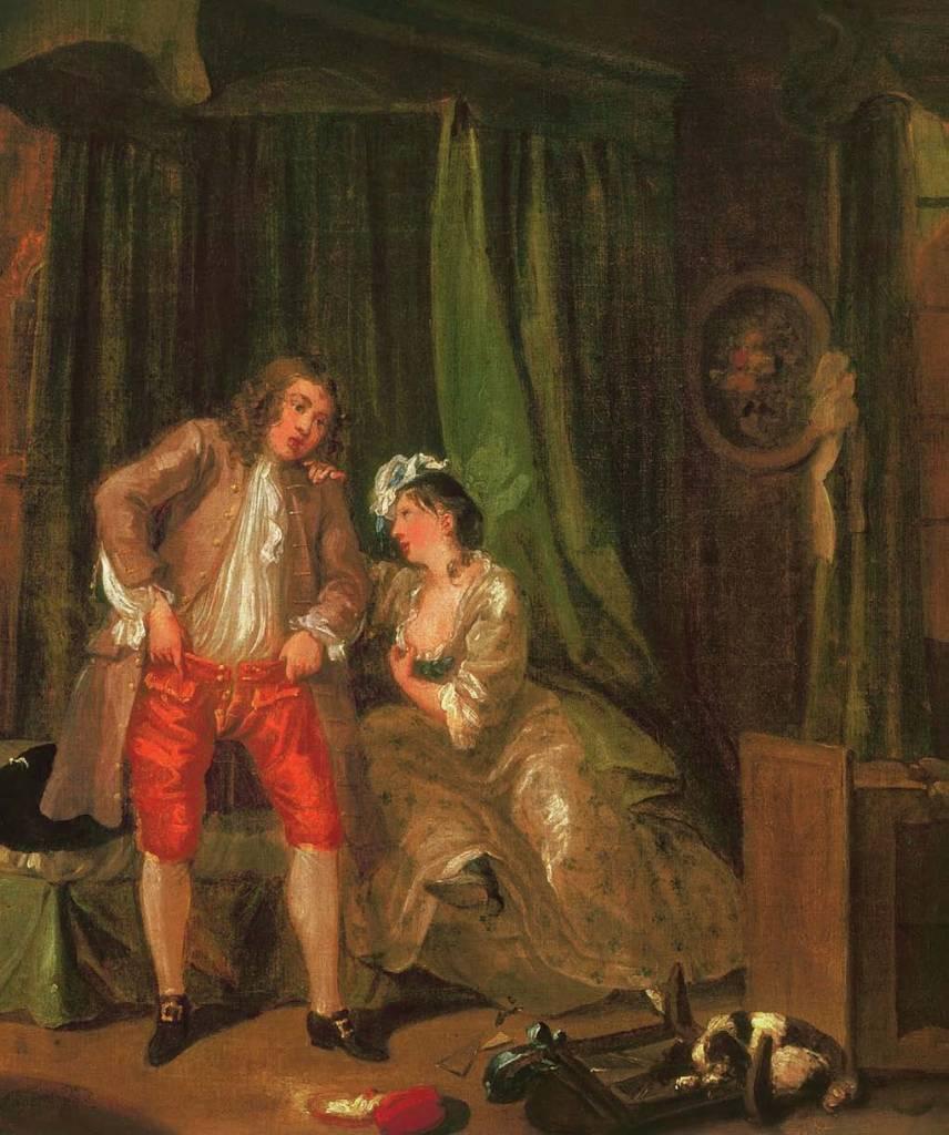 William Hogarth, Danach, um 1730-1731, Die Geschichte der Herrenunterwäshche, Shaun Cole