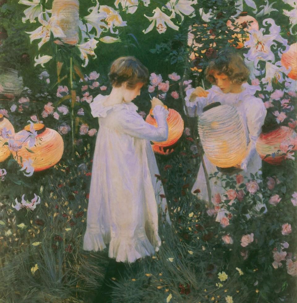 OEillets, lys, lys, rose par John Singer Sargent, Petites Filles, Klaus H. Carl