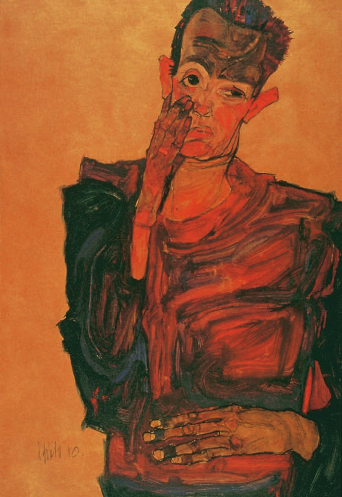 Self-Portrait with Hand to Cheek, 1910, Egon Schiele