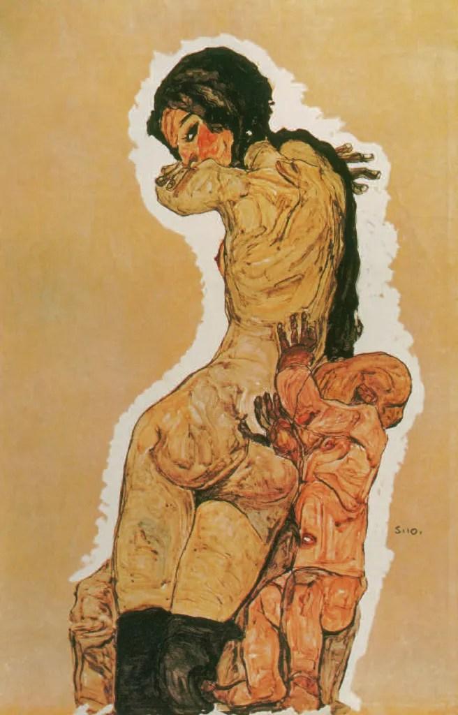 MÈRE ET ENFANT, 1910, Egon Schiele
